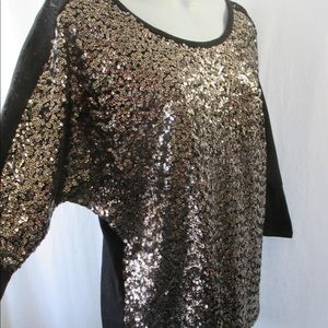 Rock Roll Cowgirl Top Sz S Gold Sequin Bling Front